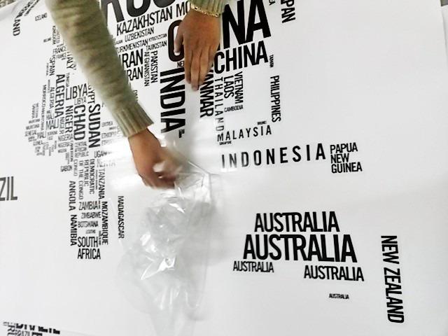 Adesivo De Parede Espelhado ~ Adesivo De Parede Mapa Mundi Em Letras Rln123 R$ 50,00
