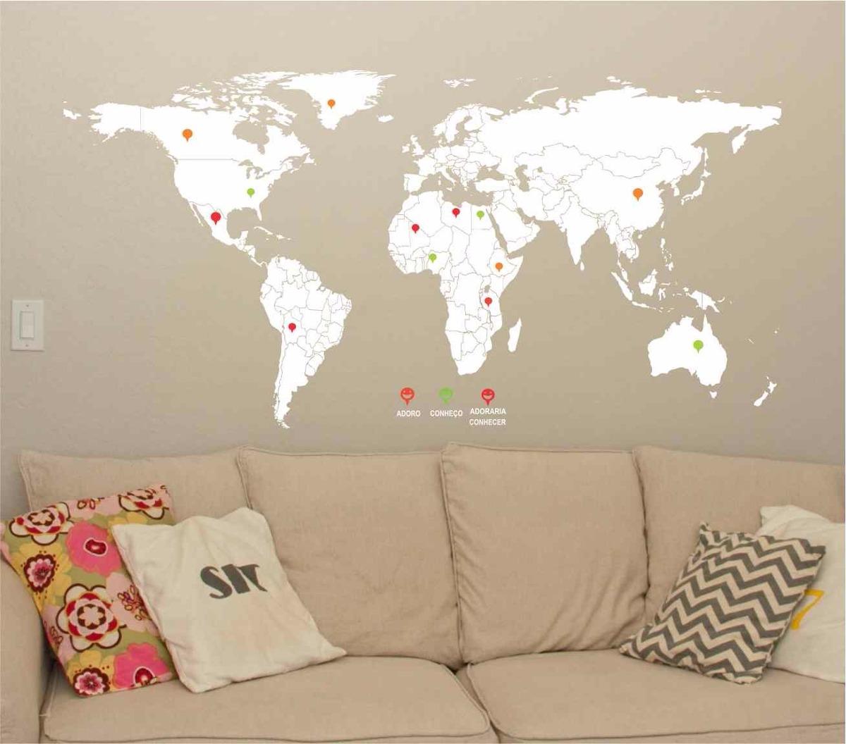 Adesivo De Parede Espelhado ~ Adesivo De Parede Mapa Mundi Gigante 2m X 1m Diversas