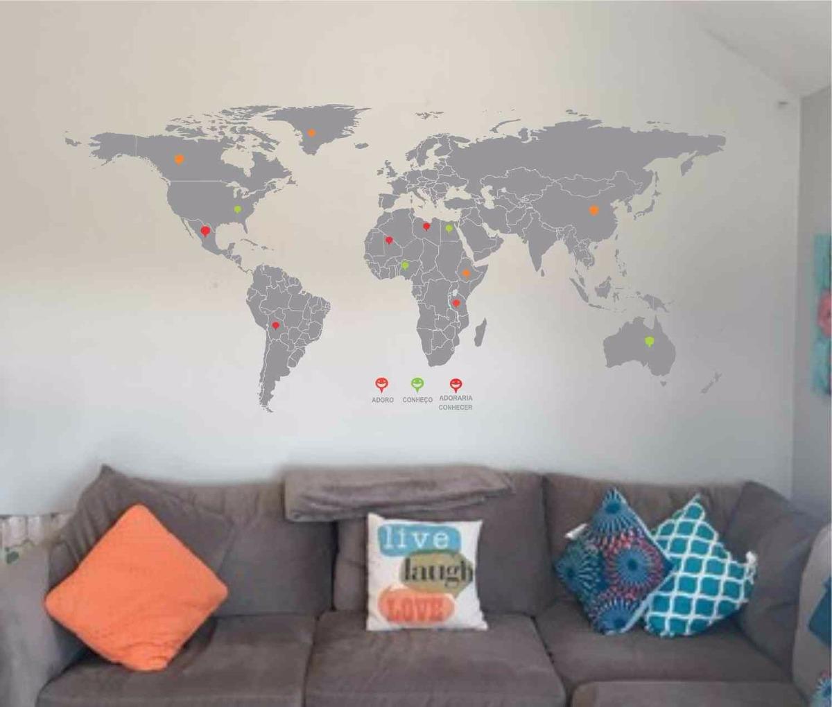 Adesivo De Parede Mapa Mundi Preto ~ Adesivo De Parede Mapa Mundi Gigante 2m X 1m Diversas Cores R$ 219,00 em Mercado Livre