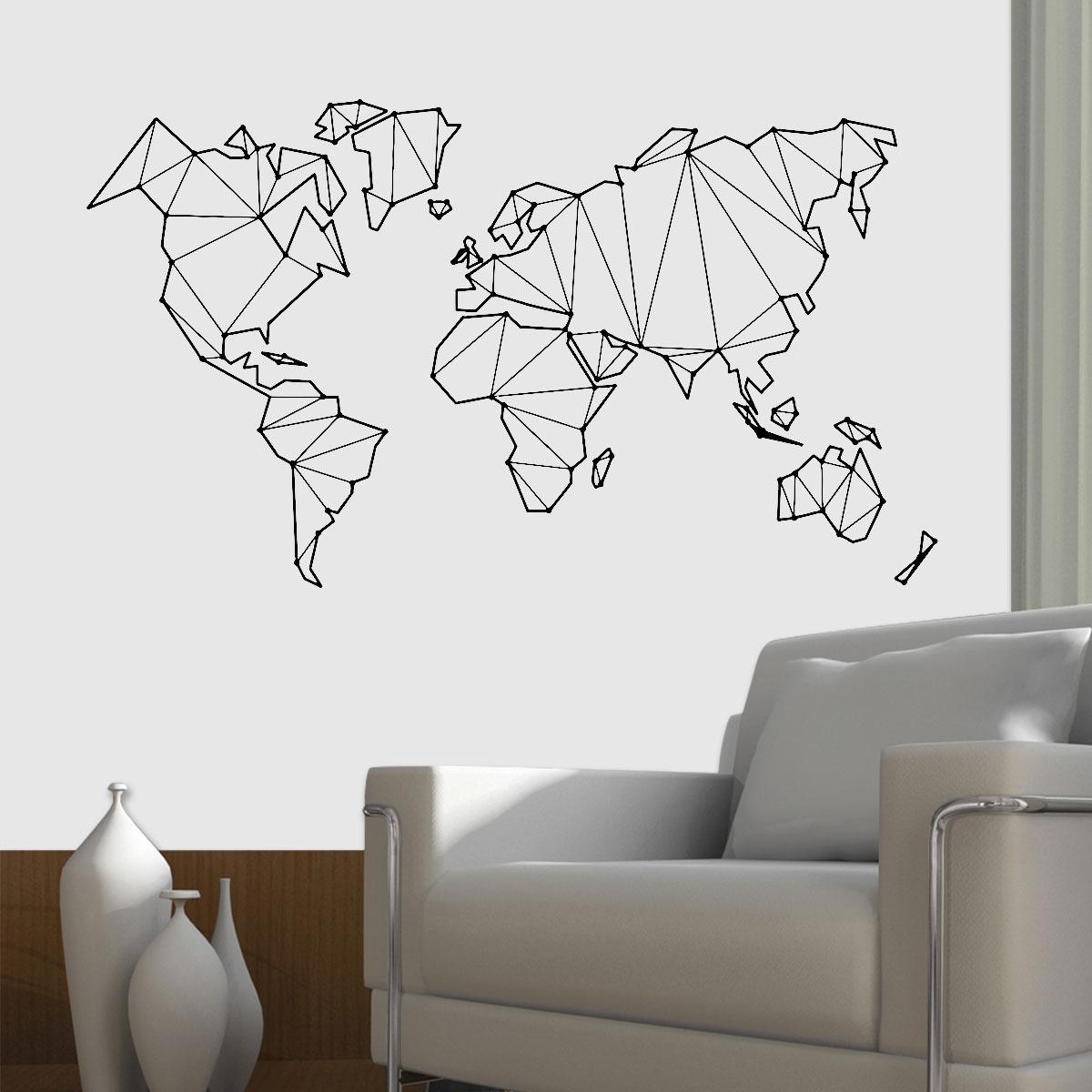 Adesivo De Parede Mapa Mundi Origami Extra Grande 146x75cm R