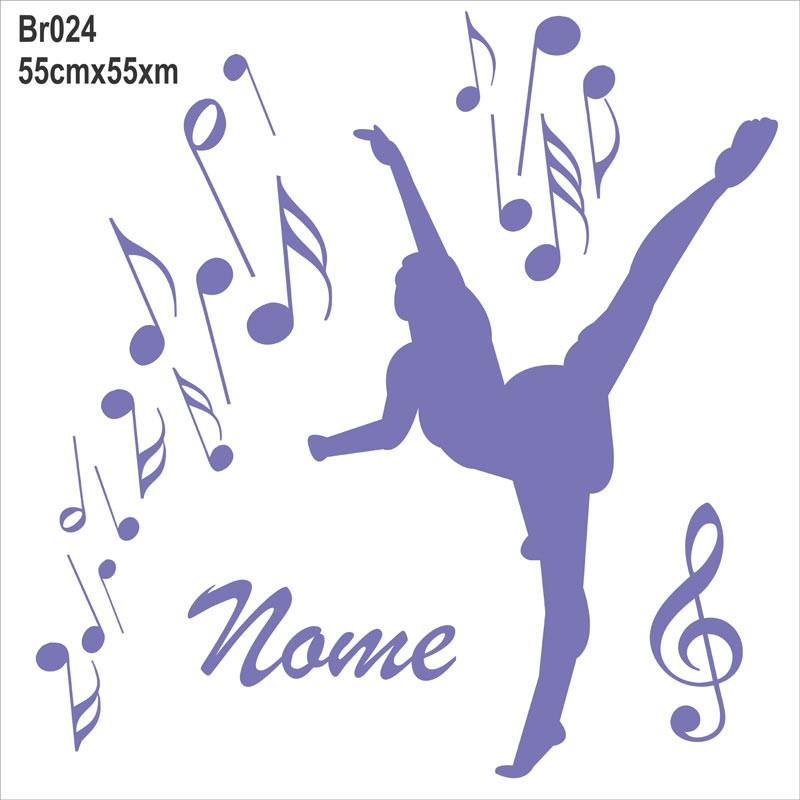 Adesivo Azulejo Pastilha Resinada ~ Adesivo De Parede Menina Bailarina Nome Notas Musicais Br024 R$ 65,61 em Mercado Livre