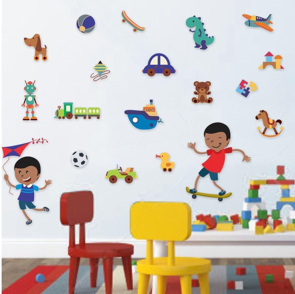 Artesanato Brasil Escola ~ Adesivo De Parede Menino Brinquedos 529c Decoraç u00e3o R