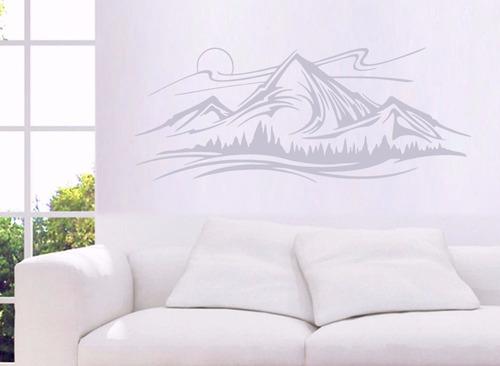adesivo de parede montanha sol árvores horizonte 40x100 cm