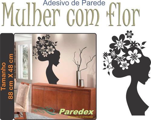 adesivo de parede mulher negra com flor 1 metro sala quarto