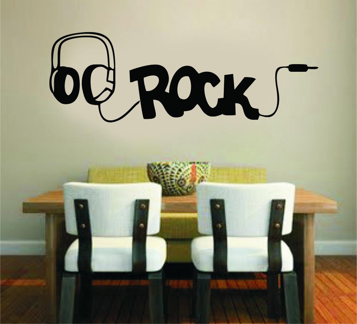Adesivo de parede m sica fone de ouvido rock banda music for Bandas protectoras de paredes