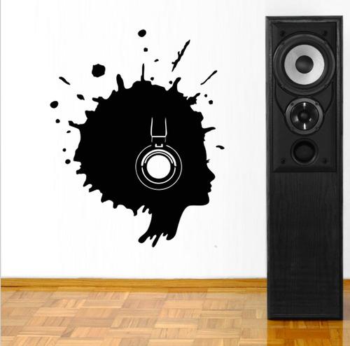 adesivo de parede música fone mulher black power 100x80cm