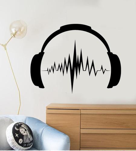 adesivo de parede música fone música 85x110 cm