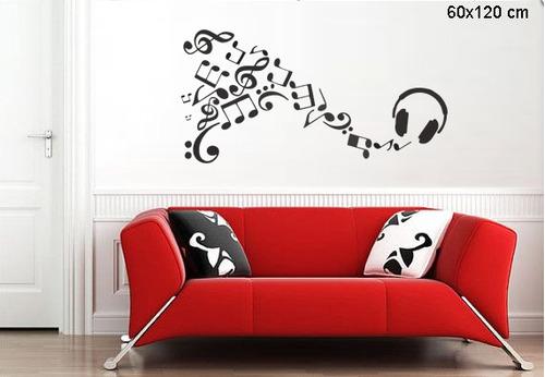 adesivo de parede música fone notas musicais