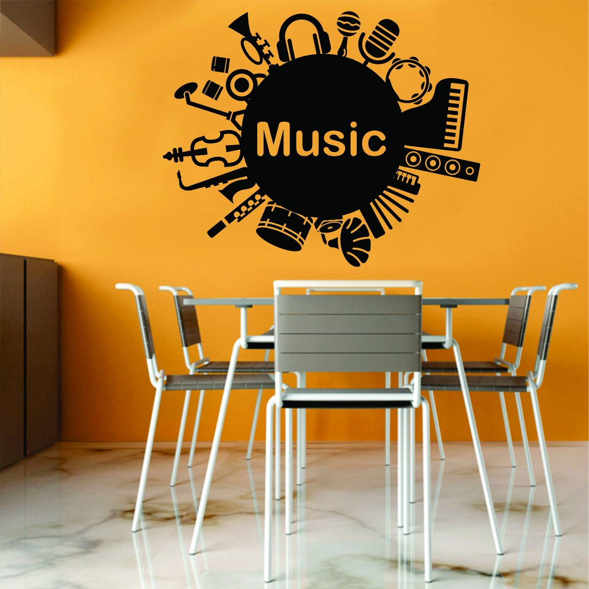 Artesanato Feltro Passo A Passo ~ Adesivo De Parede Música Instrumentos Guitarra Viol u00e3o Notas R$ 49,99 em Mercado Livre