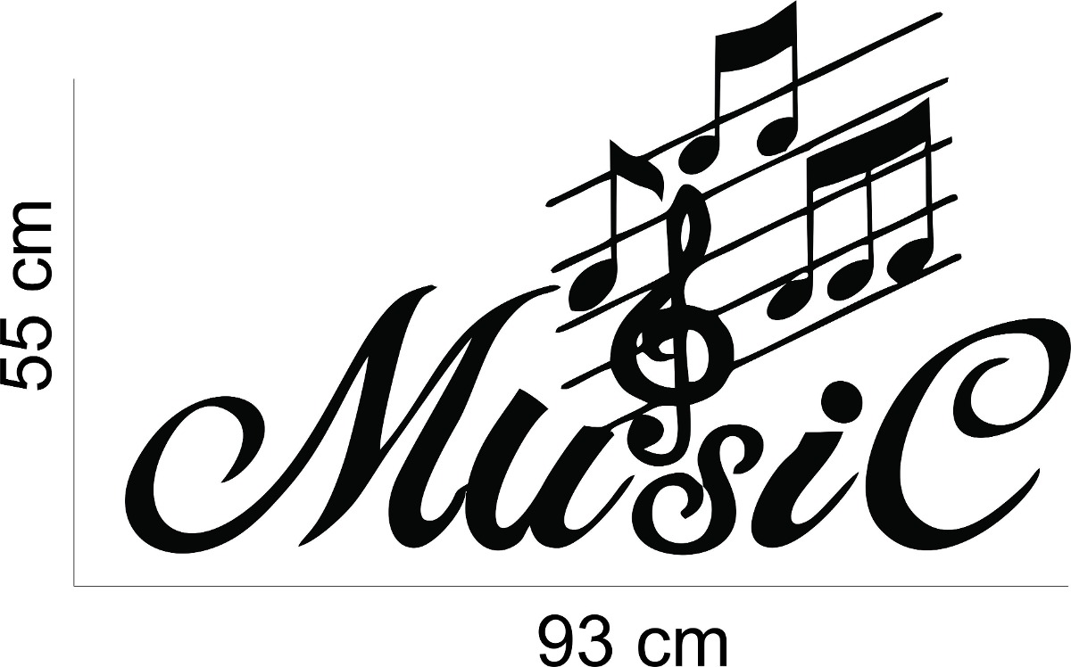 adesivo de parede m250sica music notas musicais clave de sol