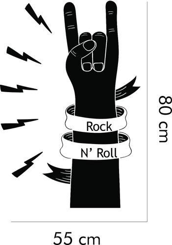 adesivo de parede música rock and roll braço mão chifrada