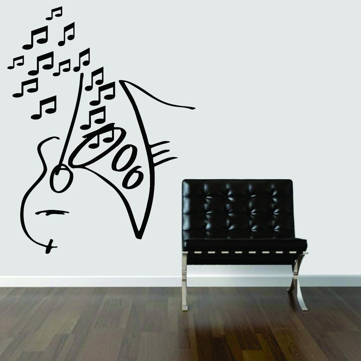 Artesanato Feltro Passo A Passo ~ Adesivo De Parede Música Viol u00e3o Saxofone Notas Musicais R$ 24,99 em Mercado Livre