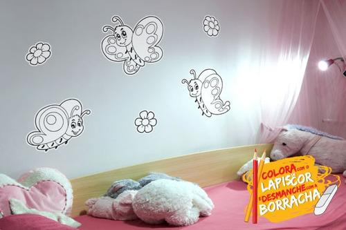 adesivo de parede para colorir borboletas - mudo minha casa