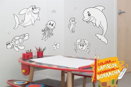 adesivo de parede para colorir fundo do mar
