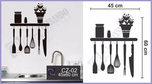 adesivo de parede para cozinha utensílios pendurados - vasos
