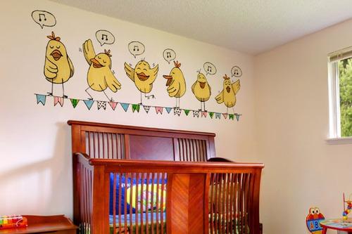 adesivo de parede passarinhos cantores - mudo minha casa