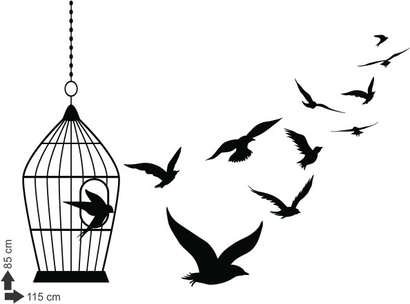Adesivo De Parede Pássaro Gaiola Animal Passarinhos Asas