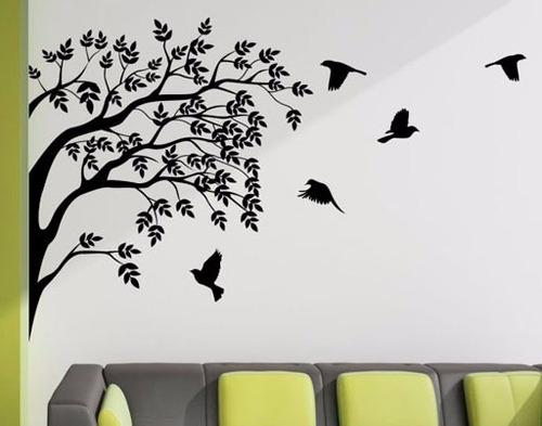adesivo de parede pássaros e galhos de árvore sala quarto