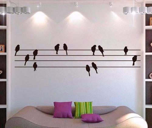 adesivo de parede pássaros fio de luz sala quarto 2 metros