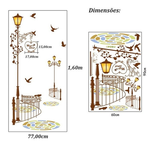 adesivo de parede poste + pássaros decoração importado
