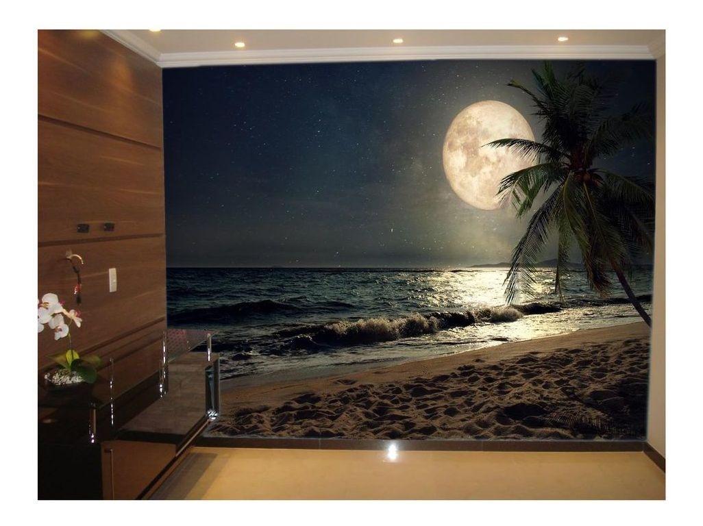 Adesivo De Parede Praia Mar Lua Cheia Noite 3d 6m Npr212 R 270