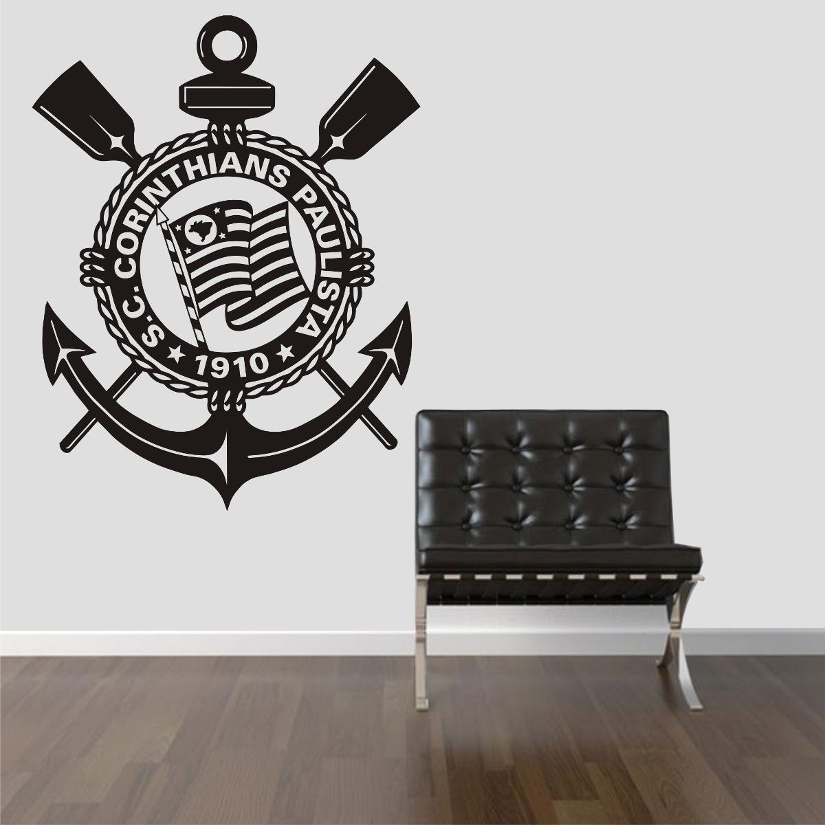 Aparador Vintage ~ Adesivo De Parede Quarto Escudo Time Corinthians Tim u00e3o Fiel R$ 69,99 em Mercado Livre