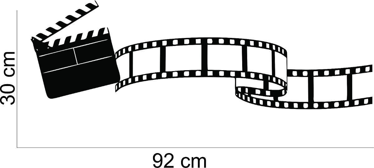 Adesivo De Parede Sala Cinema Rolo Filme Claquete Musica R 36