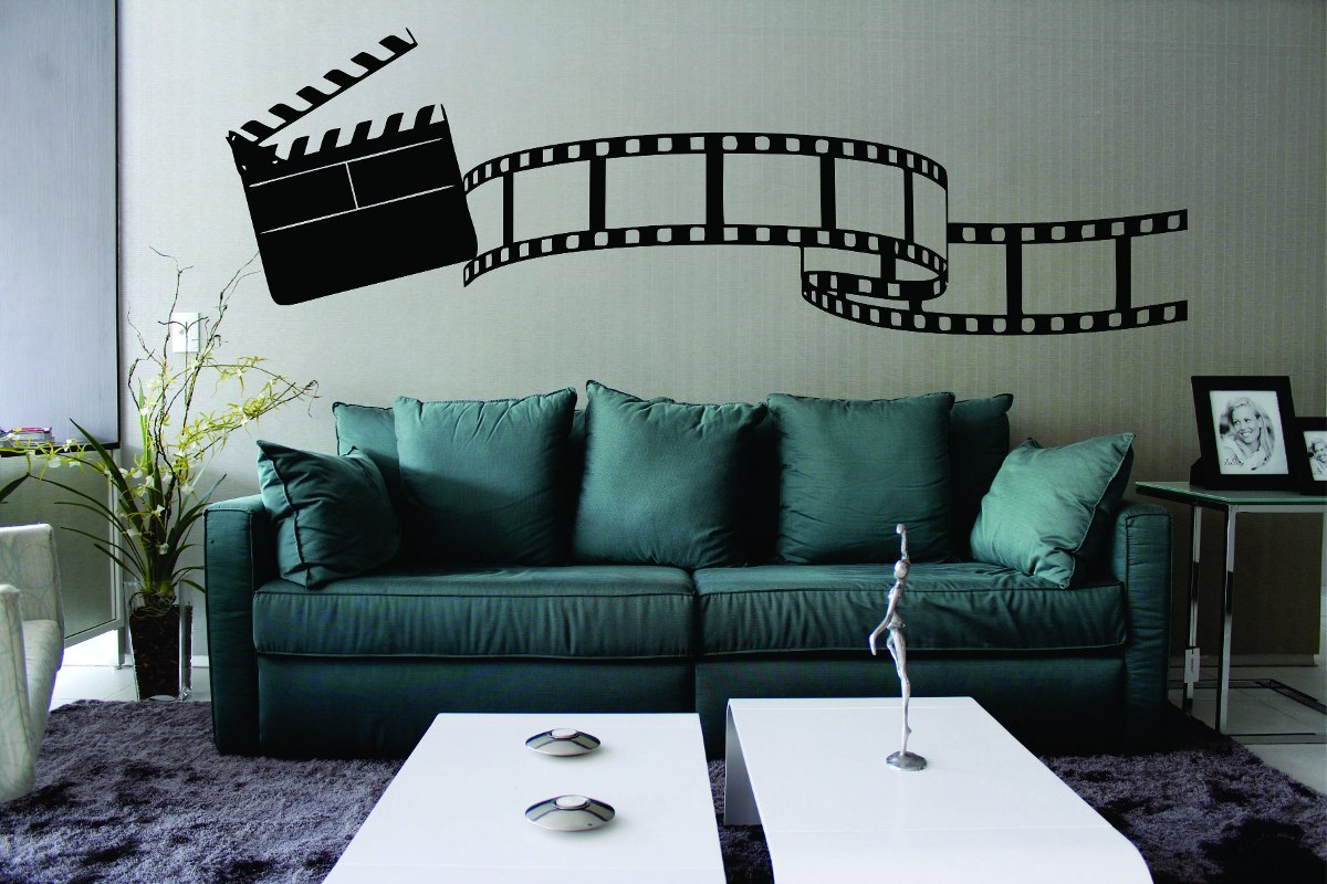 Adesivo De Parede Sala Cinema Rolo Filme Claquete M Sica R 54 99  -> Adesivos Para Parede Sala De Tv