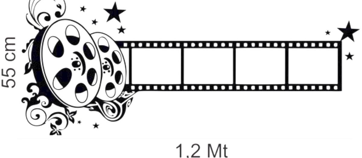 Artesanato Russo ~ Adesivo De Parede Sala Cinema Rolo Filme Claquete Música R$ 35,00 em Mercado Livre