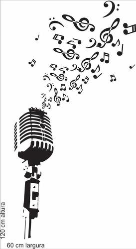 adesivo de parede sala música microfone antigo retrô notas