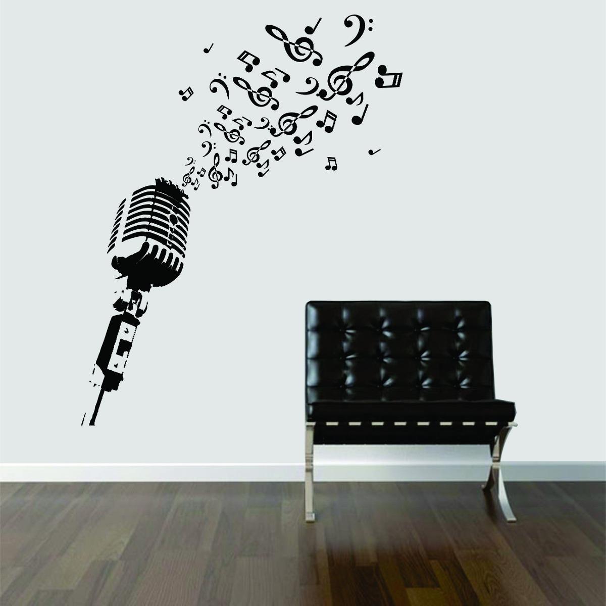 Armario Branco E Vermelho ~ Adesivo De Parede Sala Música Microfone Antigo Retr u00f4 Notas