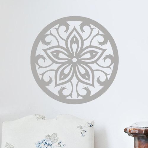 adesivo de parede sala quarto mandala floral flor 70x70 cm