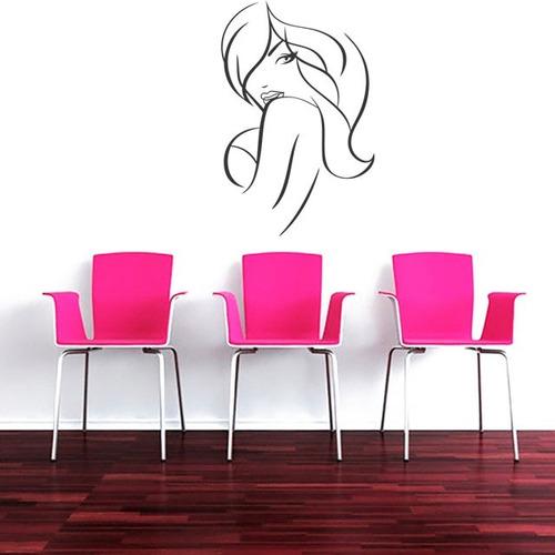 adesivo de parede salão beleza cabelo longo mulher 100x65cm