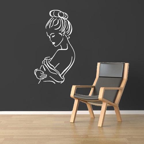 adesivo de parede salão beleza estética mulher 100x55 cm