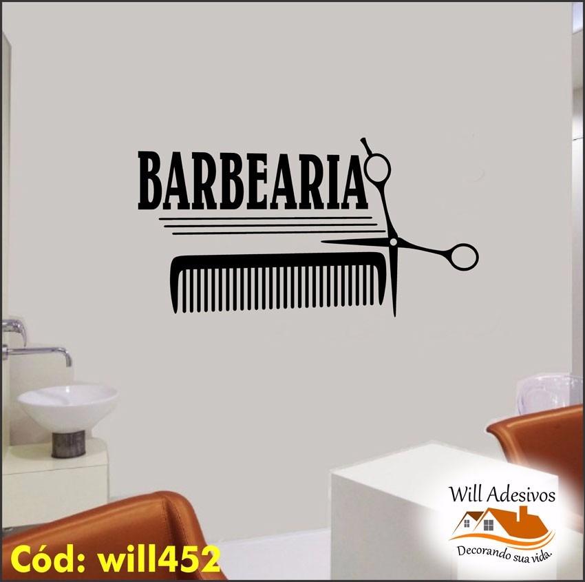 Artesanato Em Ubatuba ~ Adesivo De Parede Sal u00e3o Cabeleireiro Barbearia Homem Will452 R$ 84,40 em Mercado Livre