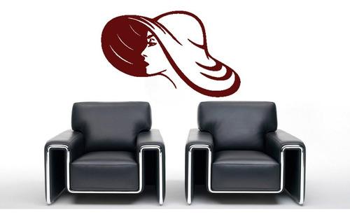 adesivo de parede salão cabeleireiro chapéu mulher 100x62cm