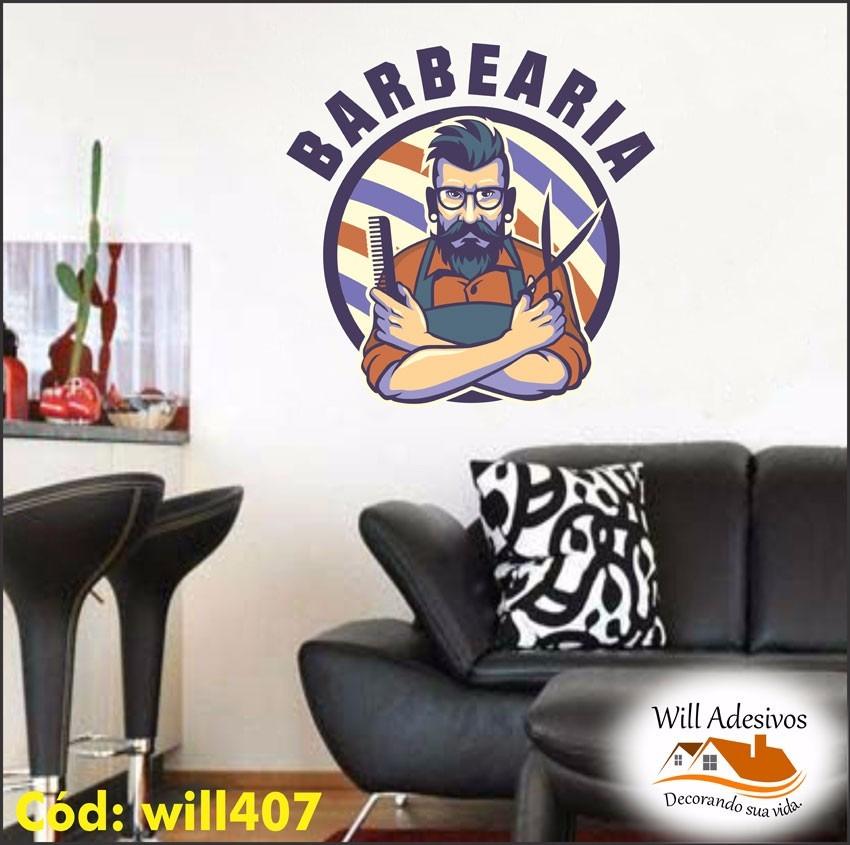 Armario Ikea Aneboda ~ Adesivo De Parede Sal u00e3o De Barbearia Cabelos Barba Will407 R$ 84,40 em Mercado Livre