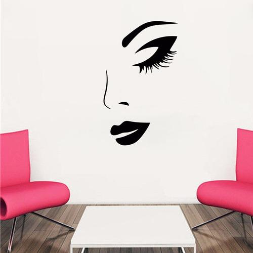 adesivo de parede salão de beleza cabeleireiro batom 60x100