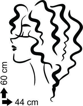 adesivo de parede salão de beleza cabeleireiros mulher cacho