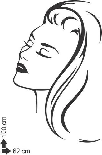 adesivo de parede salão de beleza estética mulher 100x62 cm