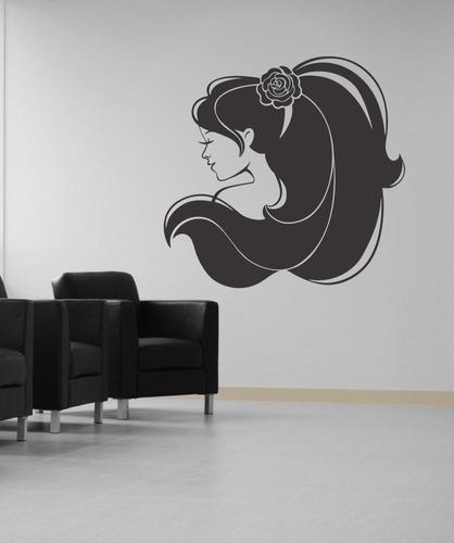 adesivo de parede salão de beleza mulher cabelo 100x96cm