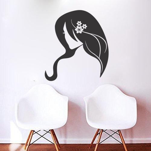 adesivo de parede salão de beleza mulher flor 90x100 cm