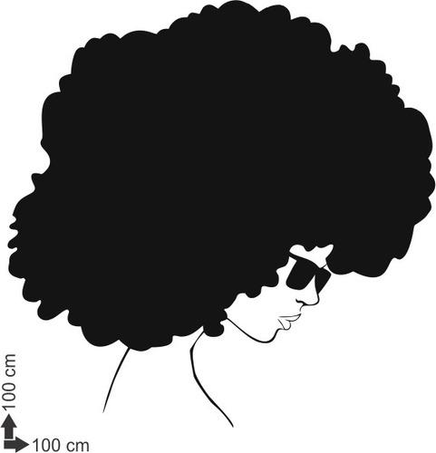 adesivo de parede salão negra black power cabelo africana