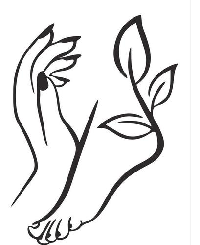 adesivo de parede salão unhas mão pé esmalte manicure 70x96