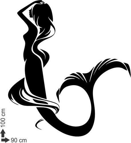 adesivo de parede sereia mar oceano peixe mulher 90x100 cm