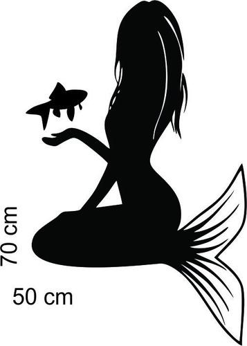 adesivo de parede sereia mar peixe 50x70 cm