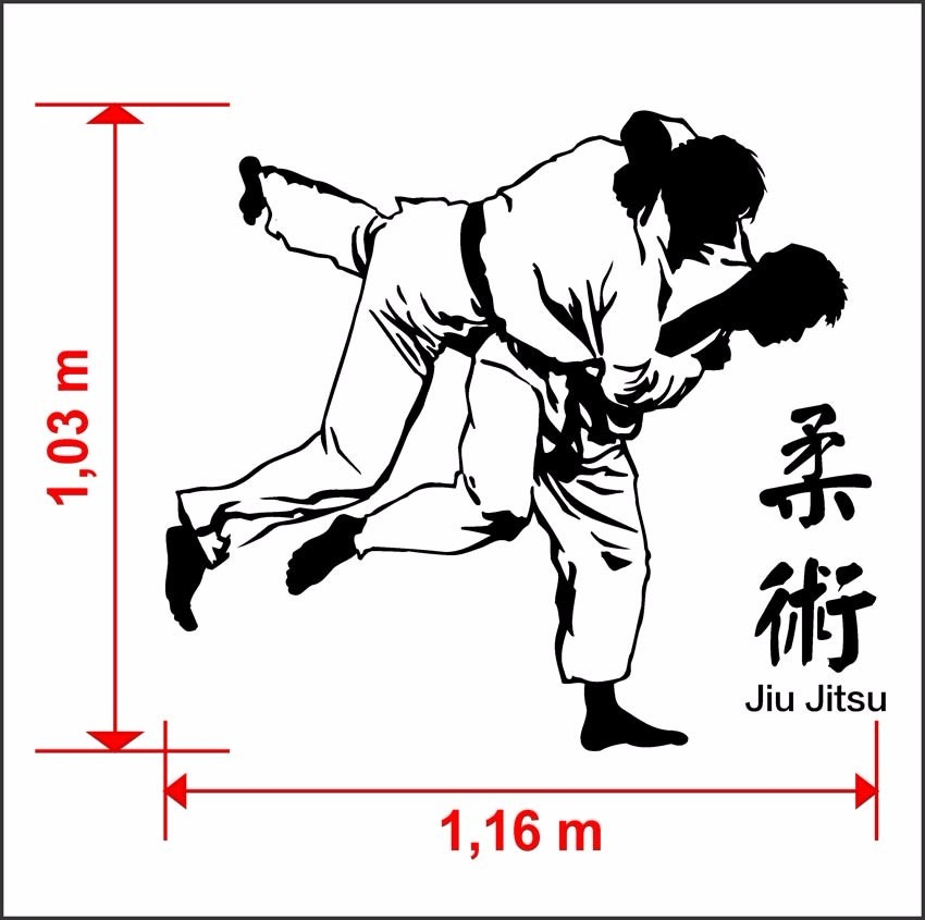 Advance Artesanato Osasco ~ Adesivo De Parede Silhueta Luta Jiu Jitsu Academia