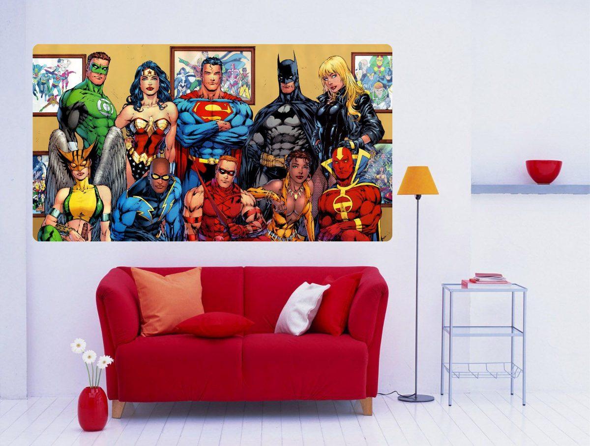 Artesanato Junino Em Feltro ~ Adesivo De Parede Super Heróis Batman Super Homem Flash R$ 44,99 em Mercado Livre