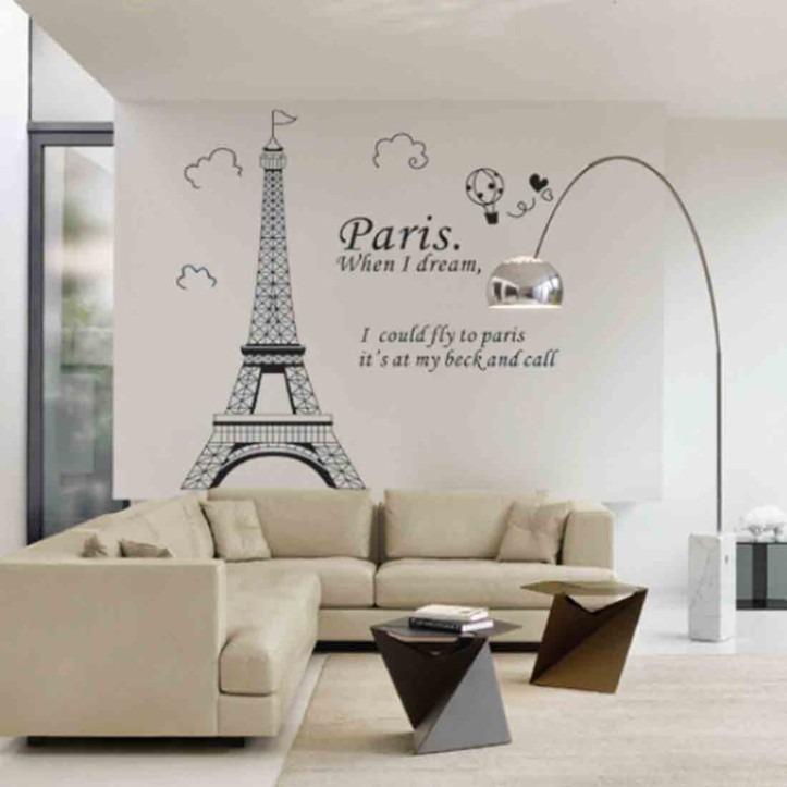 Curso Artesanato Goiania ~ Adesivo De Parede Torre Eiffel Paris R$ 49,90 em Mercado Livre