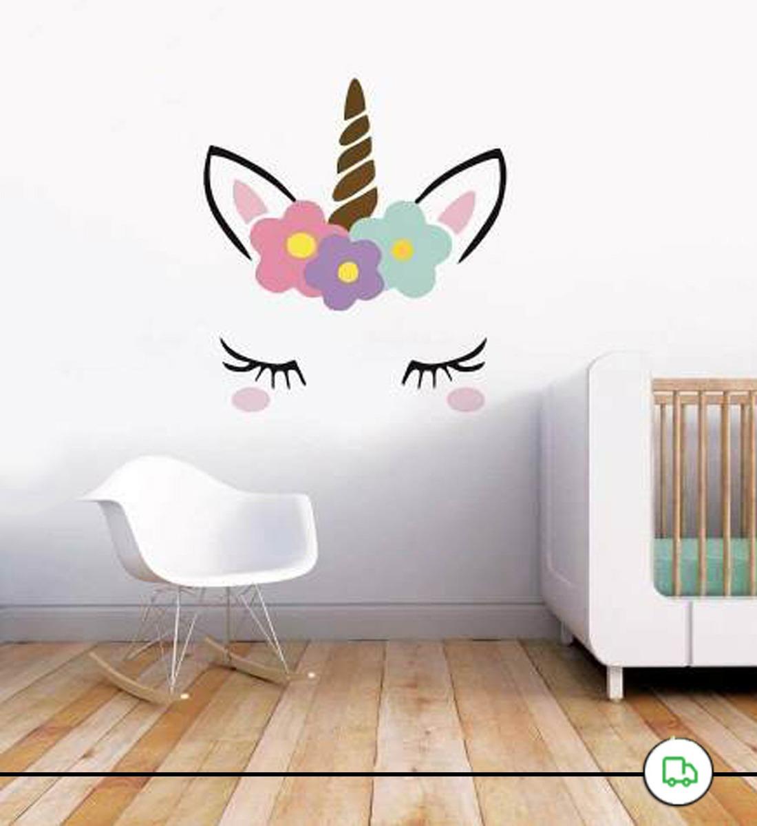 adesivo de parede unicornio tumblr floral cilios blush r 42 00 em